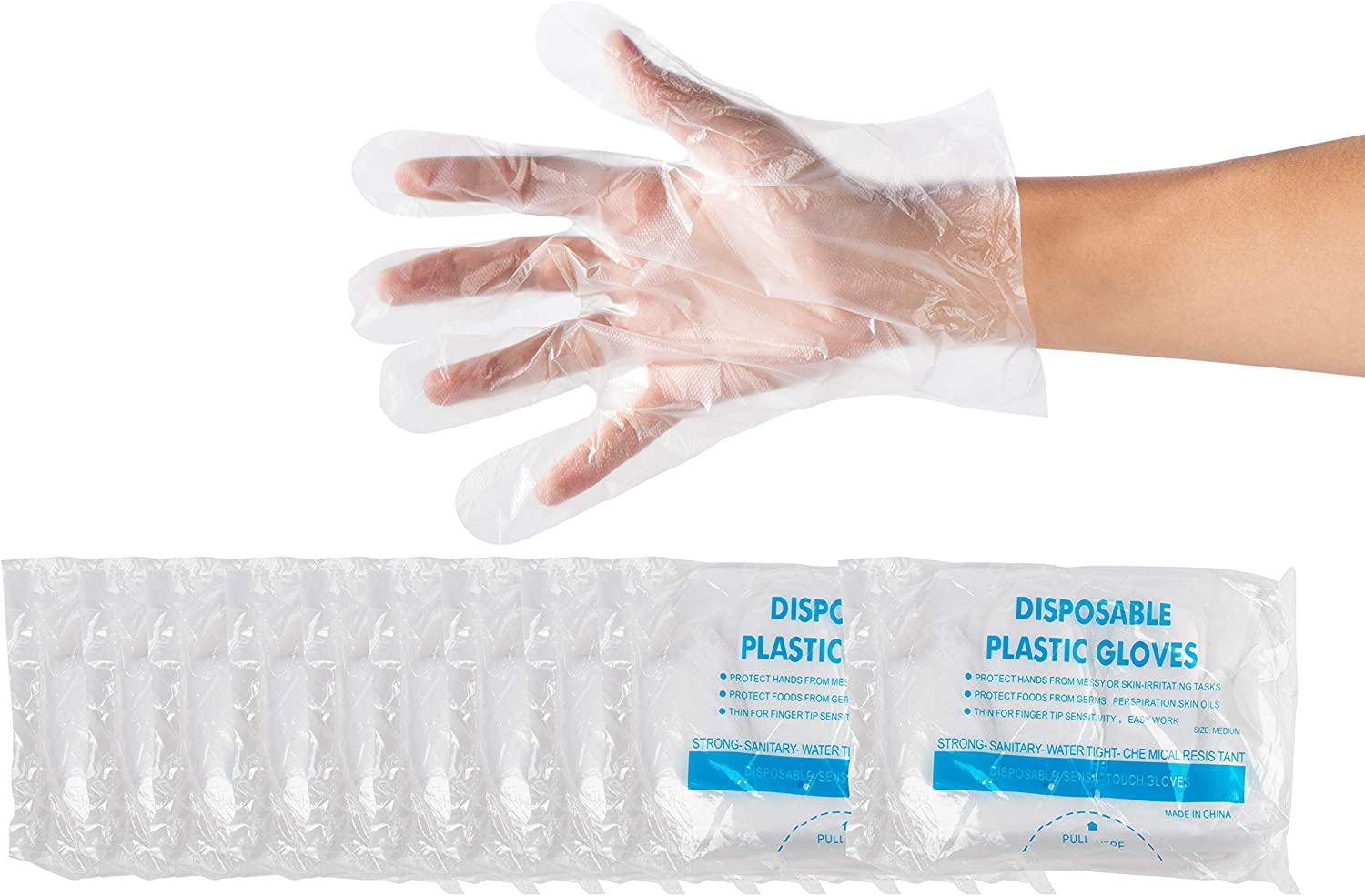 1000-Piece Disposable Gloves – Latex Free Plastic Food Prep Gloves for Cooking, Food Handling, Kitchen, BBQ, Cleaning – Clear, One Size Fits Most
