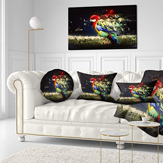Designart CU13436-20-20-C Colorful Parrot on Branch Animal Round Cushion Cover for Living Room Sofa Throw Pillow 20 Insert Printed On Both Side