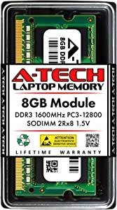A-Tech 8GB DDR3 1600MHz SODIMM PC3-12800 2Rx8 1.5V CL11 Non-ECC Unbuffered 204-Pin SO-DIMM Notebook Laptop RAM Memory Upgrade Module