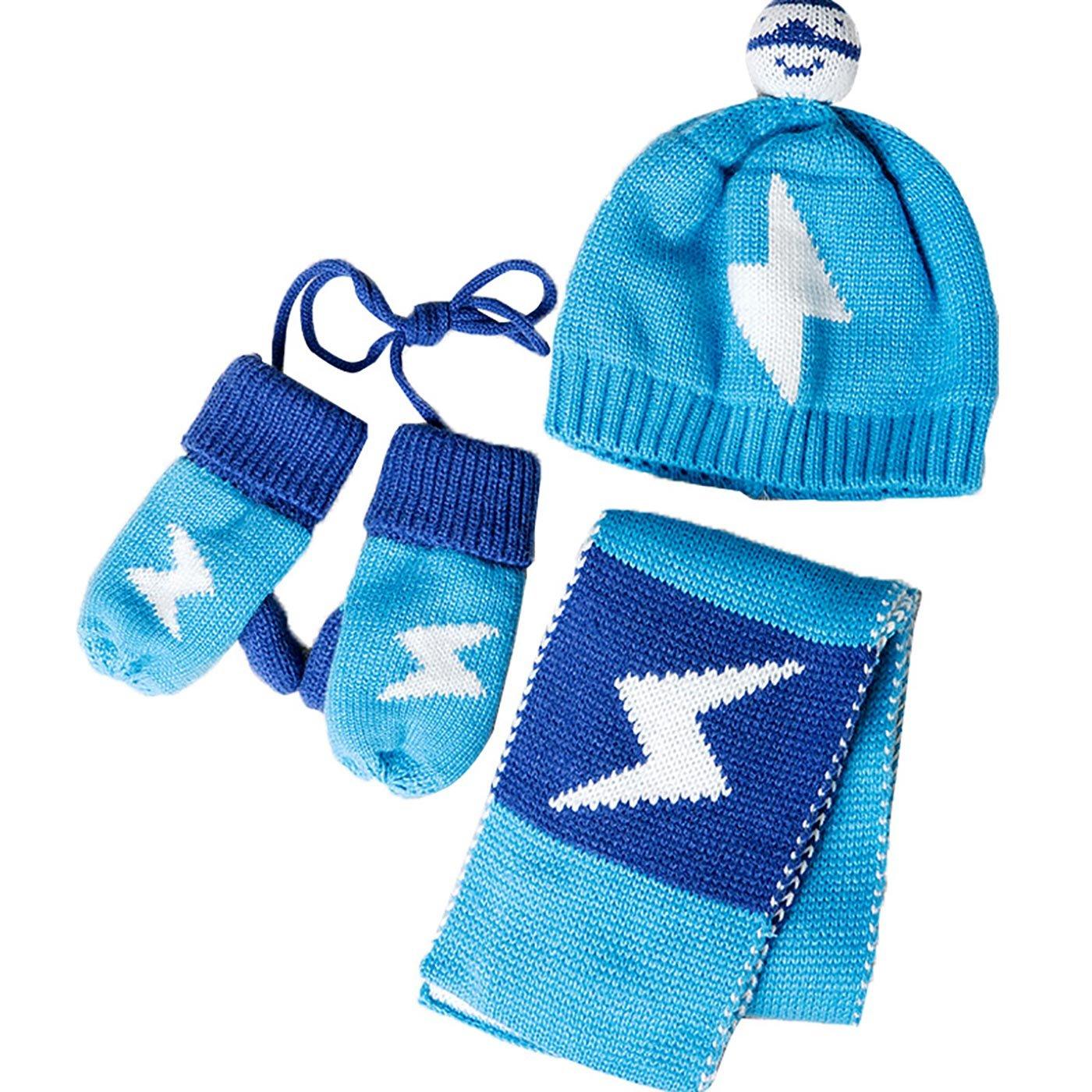 532b8c9c2 GONGZHUMAMA - Baby Set de 3 Gorro de Punto Resistente al Viento Elástico  para Bebé Niños Niñas Bufanda de Lana Calentito para Recién Nacido Guantes  de Lana ...