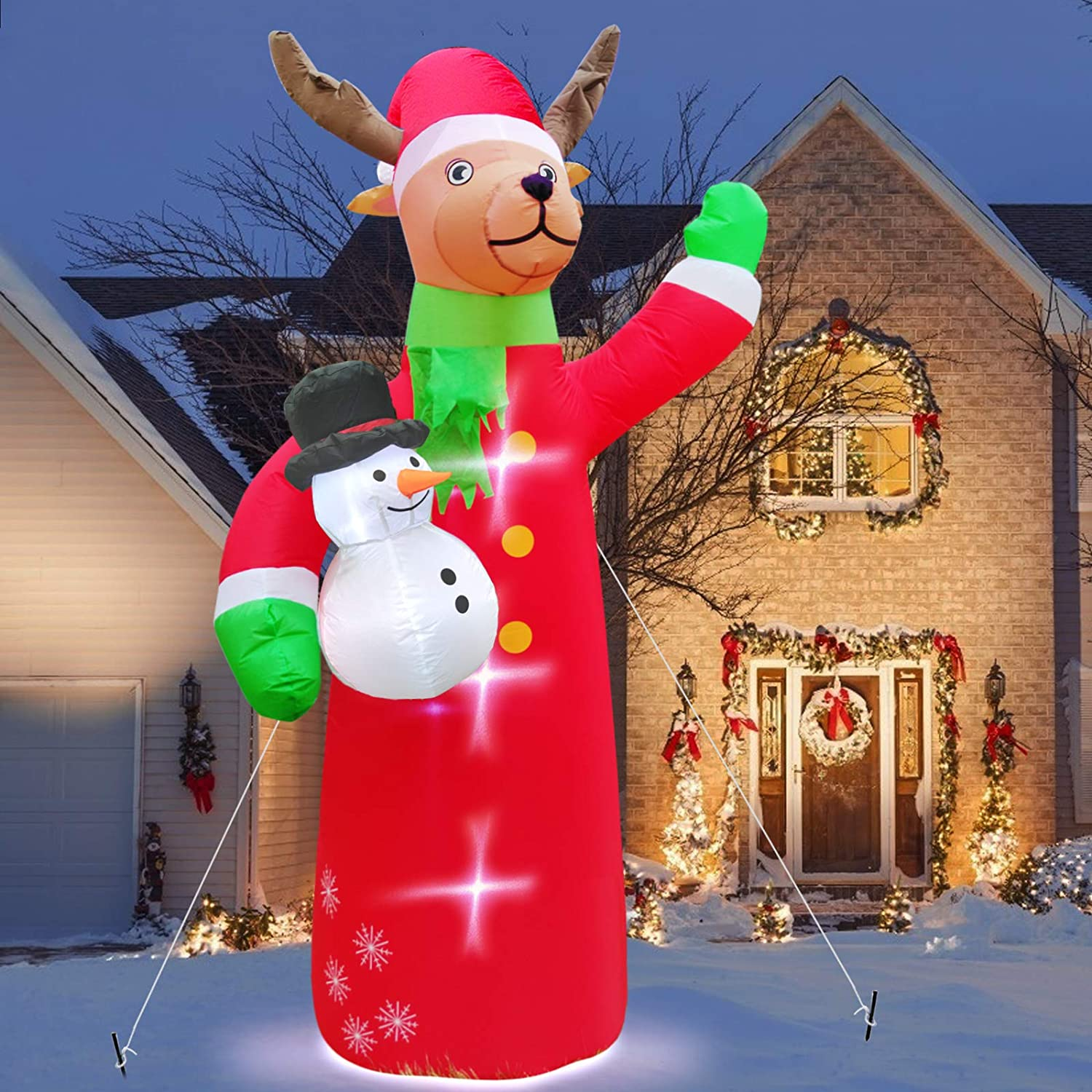 TURNMEON 7 Feet Christmas Inflatables Reindeer Holds Snowman Christmas Decorations Outdoor Built-in LED Lighted Blow Up Christmas Decorations with Tethers Stakes for Outdoor Yard Lawn Party Decor