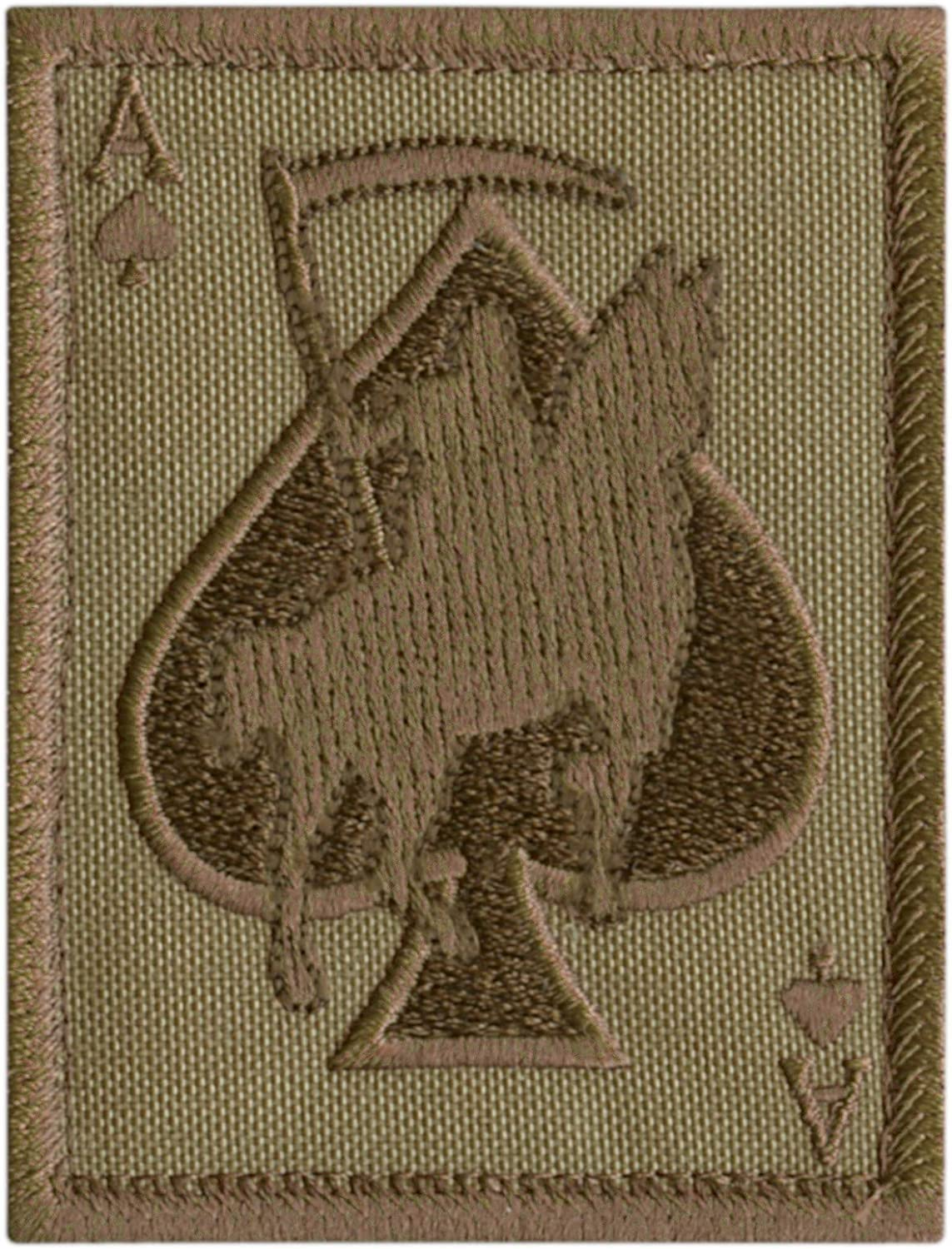 2AFTER1 Tan Coyote Ace of Spades Grim Reaper Death Card Morale Tactical Skull Skeleton Touch Fastener Patch