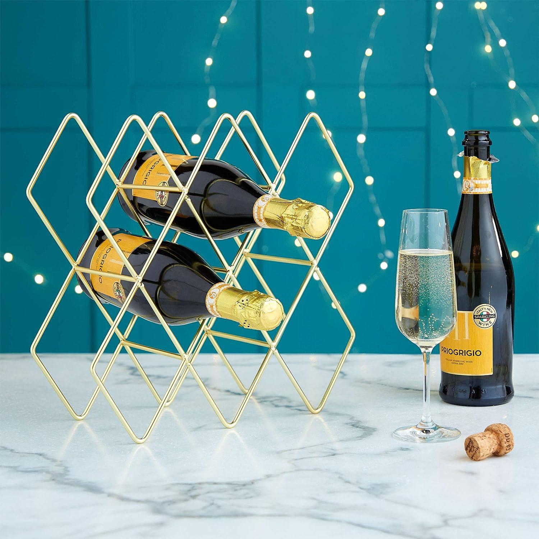 Metal Brushed Gold /& Geometric Design VonShef Wine Rack//Holder//Shelves//Storage 8-10 Bottle