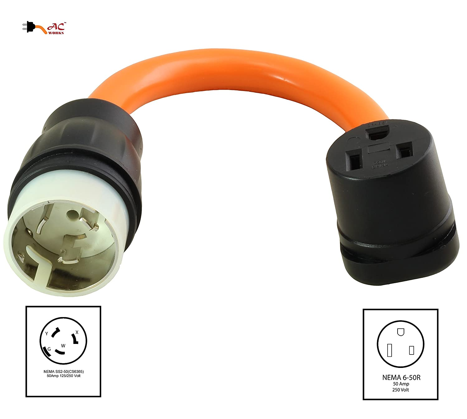 Ac Works 6 50 Welder Adapter Cs6365 Ss2 50a 4 Wires Locking To Wire Generator 3 220v Receptacle Wiring