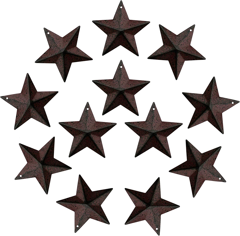 CVHOMEDECO. Rustic Primitive Antique Vintage Gifts Burgundy/Black Small Metal Barn Star Wall/Door Decor, 2-1/4 Inch, Set of 12.