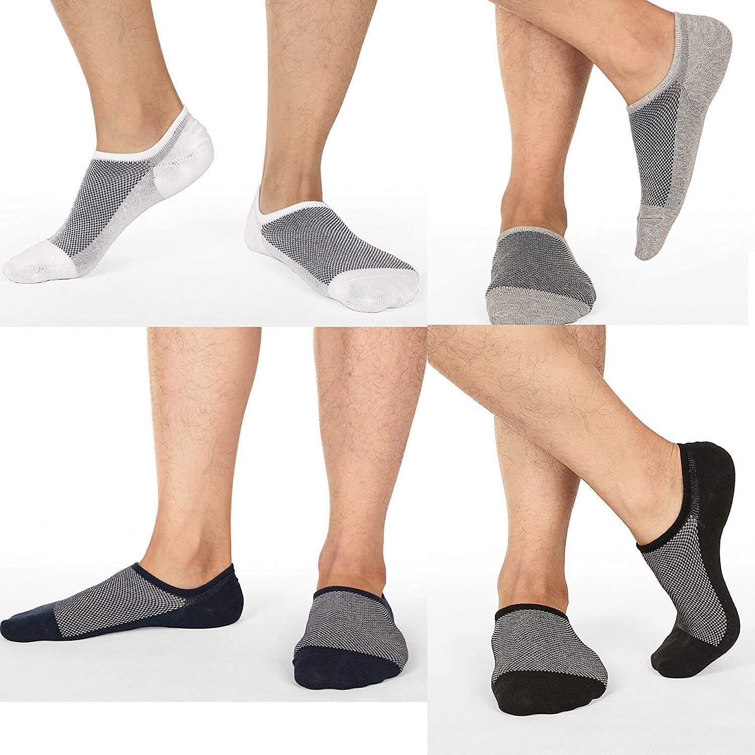 Men's No Show Socks Ultra Low Cut Casual Socks Invisible Boat Shoe Liners with Non-Slip Grip Black/White (3 Pairs Each)
