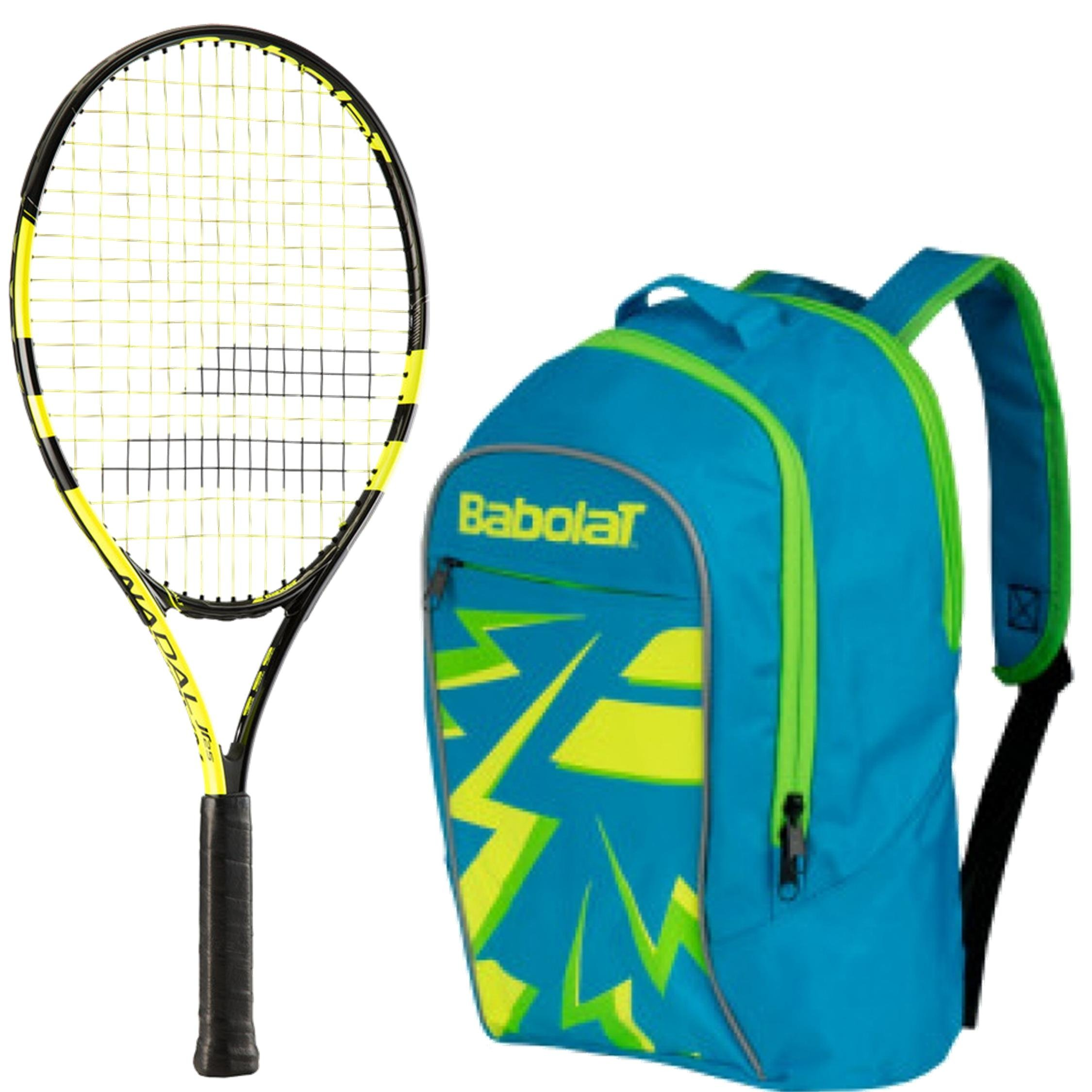 Babolat Nadal Junior 19'' Entry Level Performance Tennis Racquet (Yellow/Black) Set or Kit Bundled with Blue Child's Club Tennis Backpack (Perfect for Back to School)