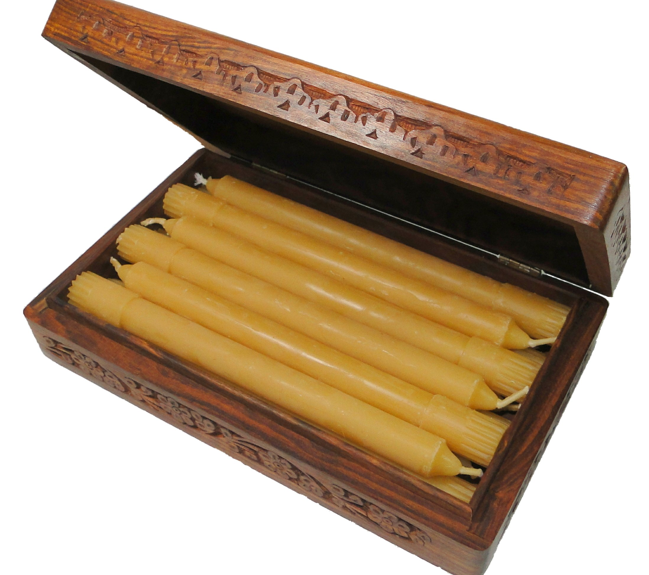BCandle 100% Beeswax Candles Organic Hand Made - 8 Inch Tall, 3/4 Inch Diameter, Wood Box, Tapers (Pack of 12)