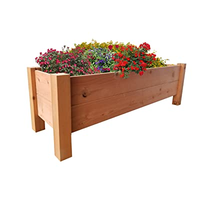 """GroGardens 1' x 4' x 16"""" Redwood Elevated Garden Bed, Grow Fresh Vegetables, Herbs, Flowers. All Natural Organic Raised Garden Bed for a Deck, Patio, Balcony, or Yard, Tool-Free, No Tools Required.: Garden & Outdoor"""