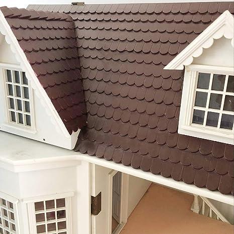 1//12 Dollhouse Miniature Wooden Roof Tiles DIY Making Accessories 12 PCS Set