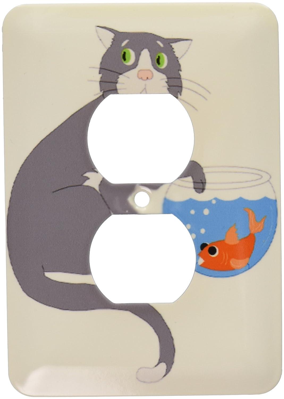 3dRose LLC LSP 44788 _ 6 adorable gato con huellas en pecera 2-plug tapa para toma de corriente: Amazon.es: Bricolaje y herramientas