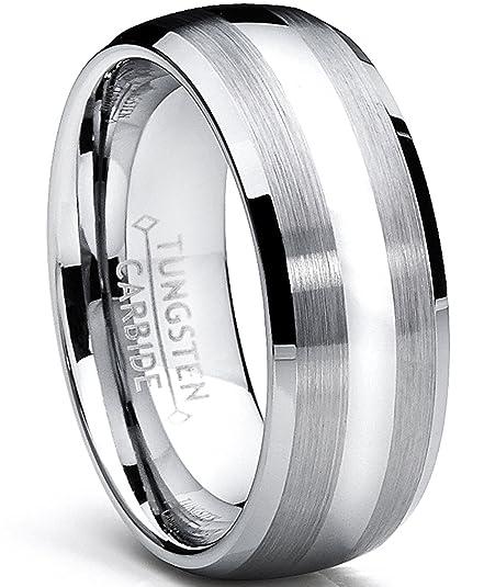 Ultimate Metals Anillo Domo de Matrimonio Tungsteno Para Hombre, Banda de Boda Acabado Satinado Y