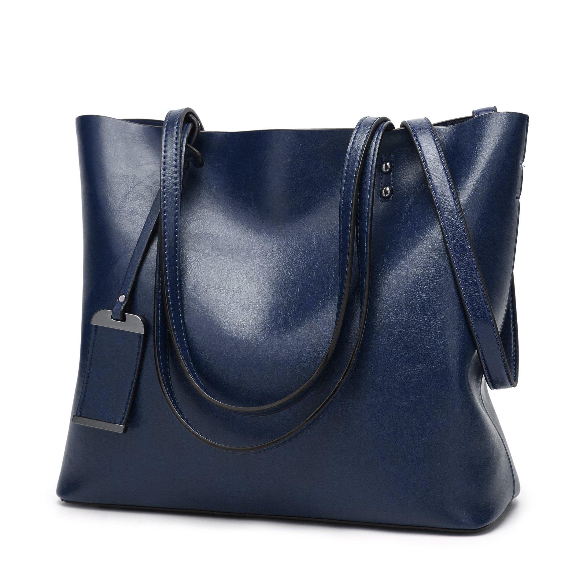 CIR Women's Vintage Fine Fibre Genuine Leather Bag Tote Shoulder Bag Handbag Model Zoe Blue Dark