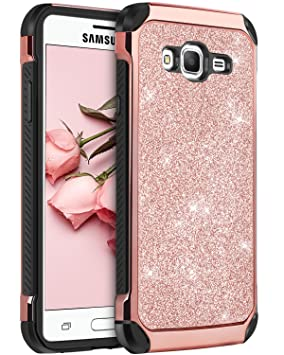 brand new f1b99 5f037 BENTOBEN Flip Shockproof Case for Galaxy J3 2016, Express Prime Case, Amp  Prime Case, Ultra Slim Sparkly Glitter Hybrid Hard Cover Protective Case  for ...
