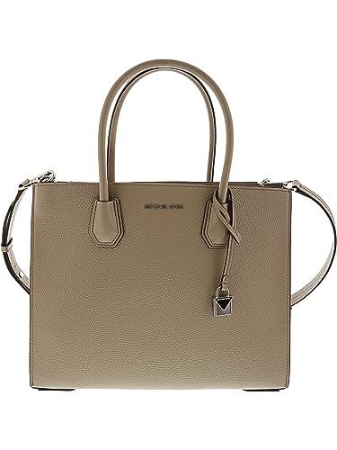631ee2445b Michael Kors Mercer Large Pebbled Leather Tote - Pearl Grey  Handbags   Amazon.com