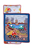 Everyday Kids Toddler Nap Mat with Removable Pillow -Under Construction- Carry Handle with Fastening Straps Closure, Rollup Design, Soft Microfiber for Preschool, Daycare, Sleeping Bag -Ages 2-4 years