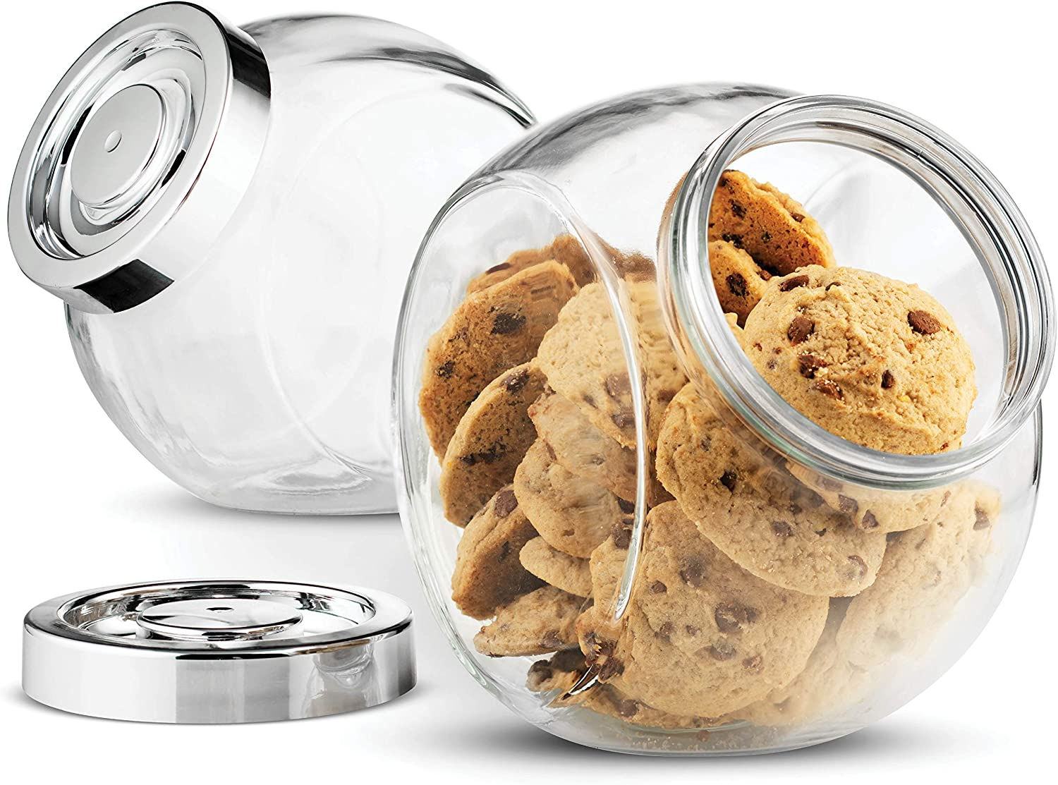 Bormioli Rocco Pandora Glass Candy Jar 75 Ounce Cookie Jar 2 Pack With Plastic Airtight Seal Lid 2 Ways Display Bulk Food Storage Jar For Snacks Dry Food Jelly Beans Canister