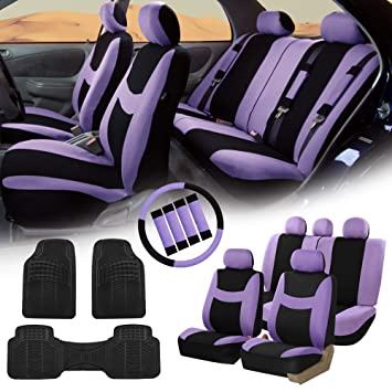 Amazon FH Group FB030115 Light Breezy Cloth Seat Covers Airbag Split Ready Purple Black Combo Set Steering Wheel Cover Belt Pads And