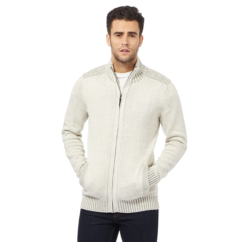 Maine New England Mens Cream Ribbed Zip Through Sweater
