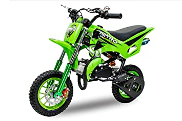 Dirt Bike DS67 de 49 cc, con ruedas de 10 pulgadas, color verde: Amazon.es: Coche y moto