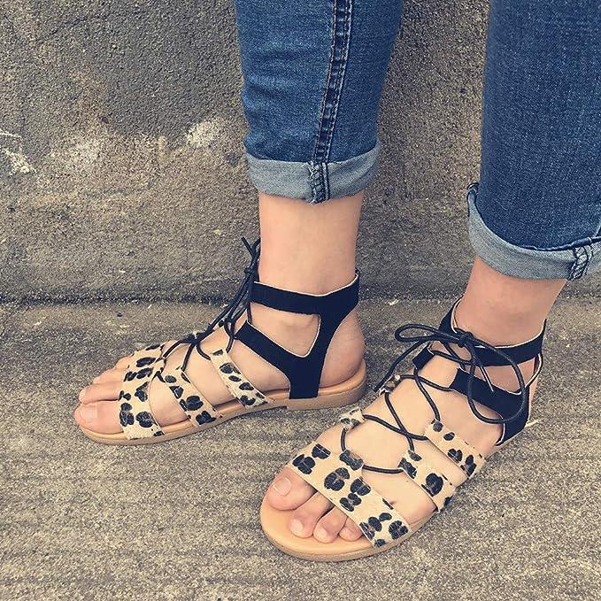 Amazon.com: JJLIKER - Sandalias de encaje para mujer, diseño ...