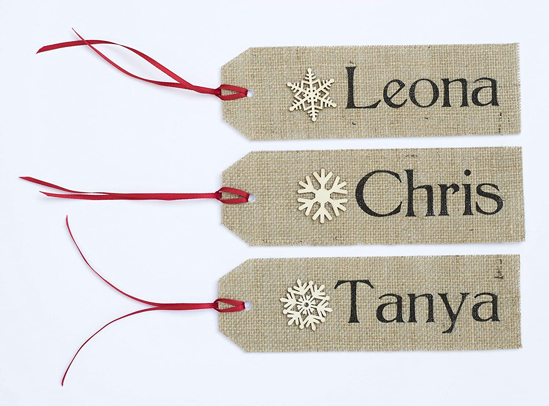 Christmas Name Tags.Personalized Stocking Name Tags Rustic Christmas Burlap Name Tags Stocking Custom Order Personalized Tags Names Hanging Christmas Gift Tag Snowflake