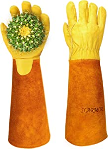 Gardening Gloves for Women/Men Rose Pruning Thorn Proof Cowhide Leather Long Forearm Protection Gloves for Garden Work-Extra Large