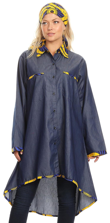 3b33c2f541fc7 Sakkas 2199 - Aana Womens Casual Ankara African Denim Chambray Shirt Dress  Long Sleeve - 417-blue/yellow-fan - OS at Amazon Women's Clothing store: