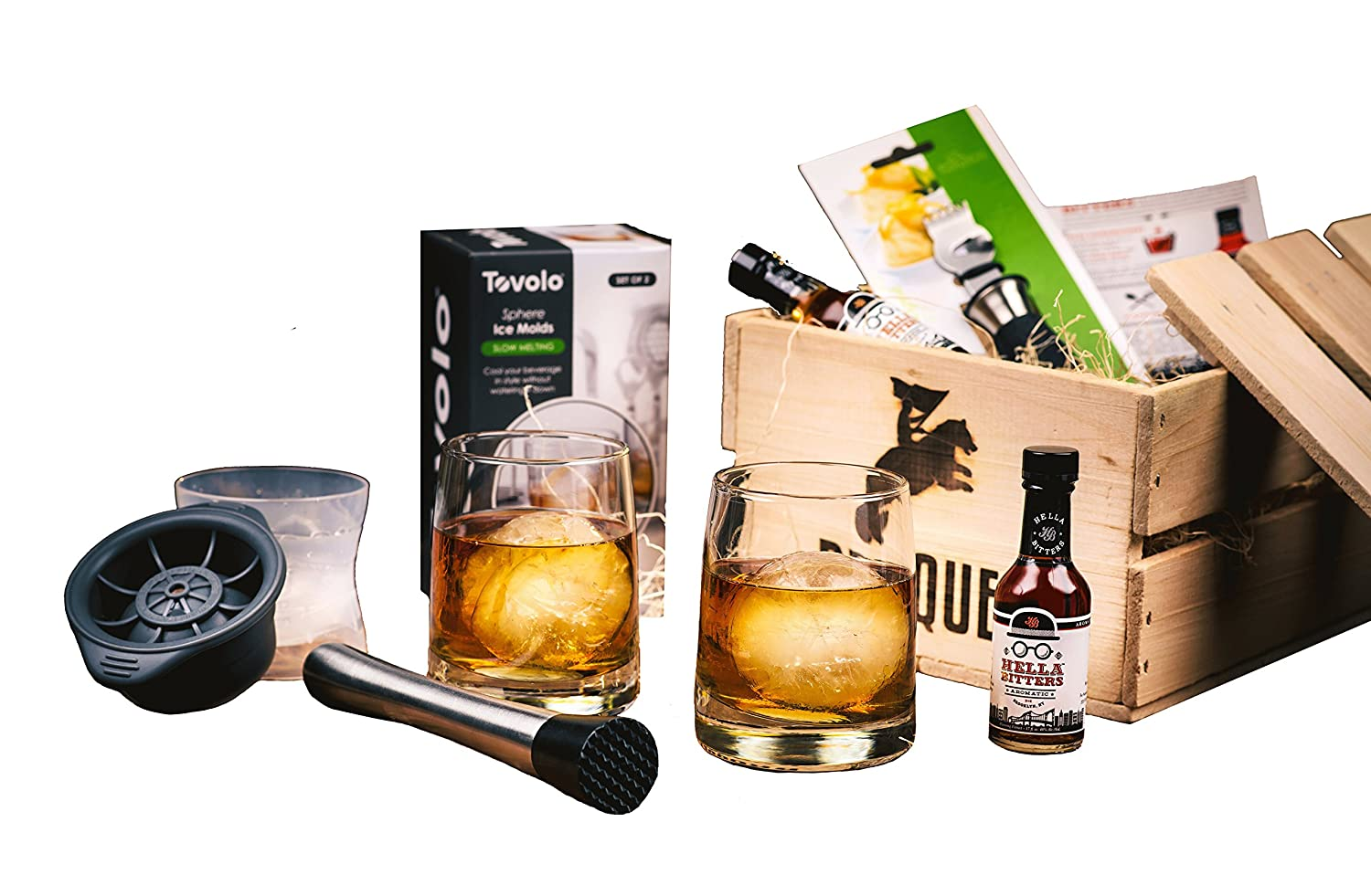 Old Fashioned Cocktail Kit Gift (7 Piece Drink Set) - Comes in a Wooden Gift Crate - Old-Fashioned Cocktail - Great Gift For Men Broquet