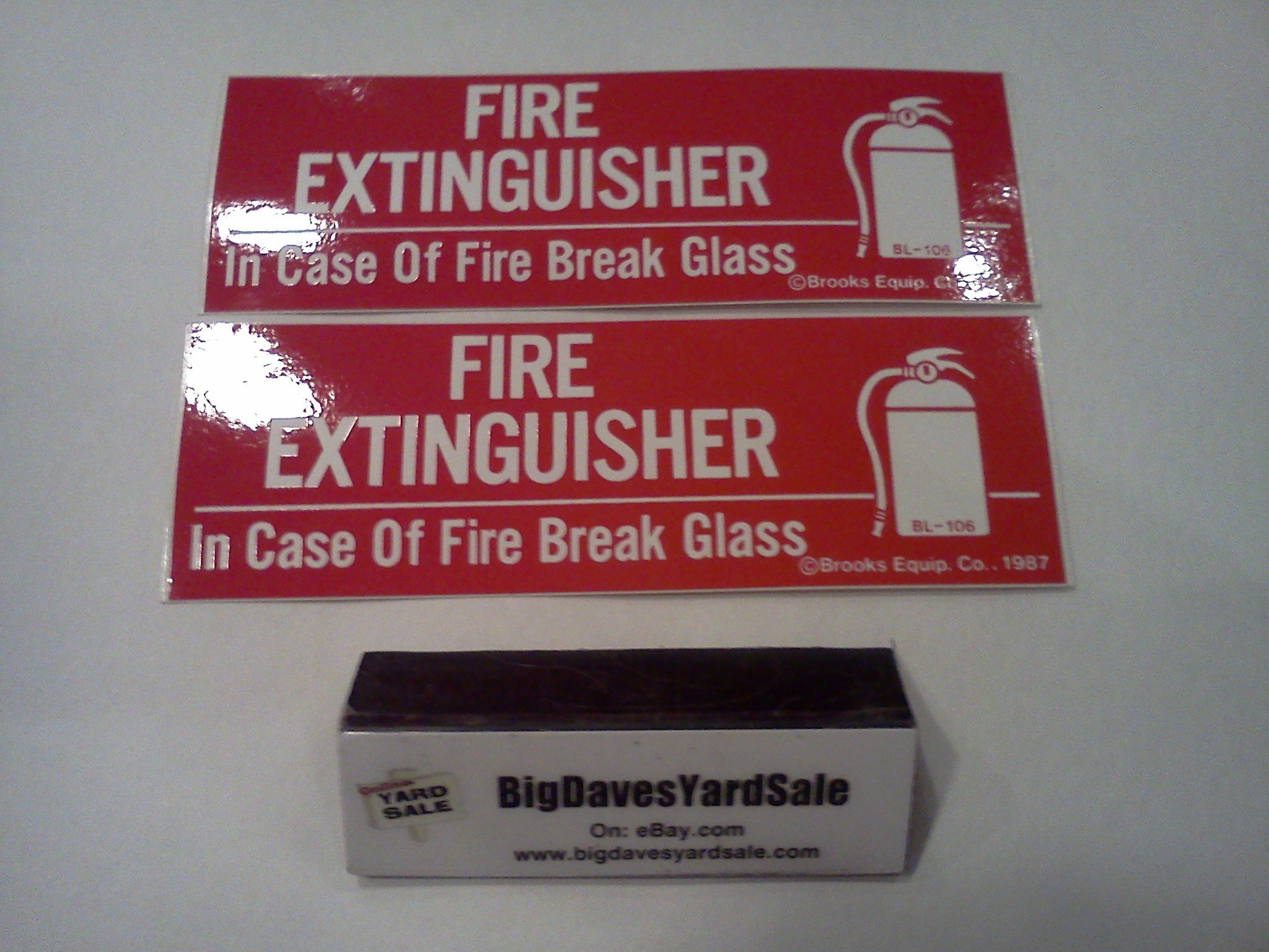 (Lot of 2) 2 1/2 to 5 Lb. Samson Fire Extinguisher Cabinet With Cylinder Lock and Breaker Bar + 2 - IN CASE OF FIRE BREAK GLASS, Self-Adhesive 2''x6'' Signs