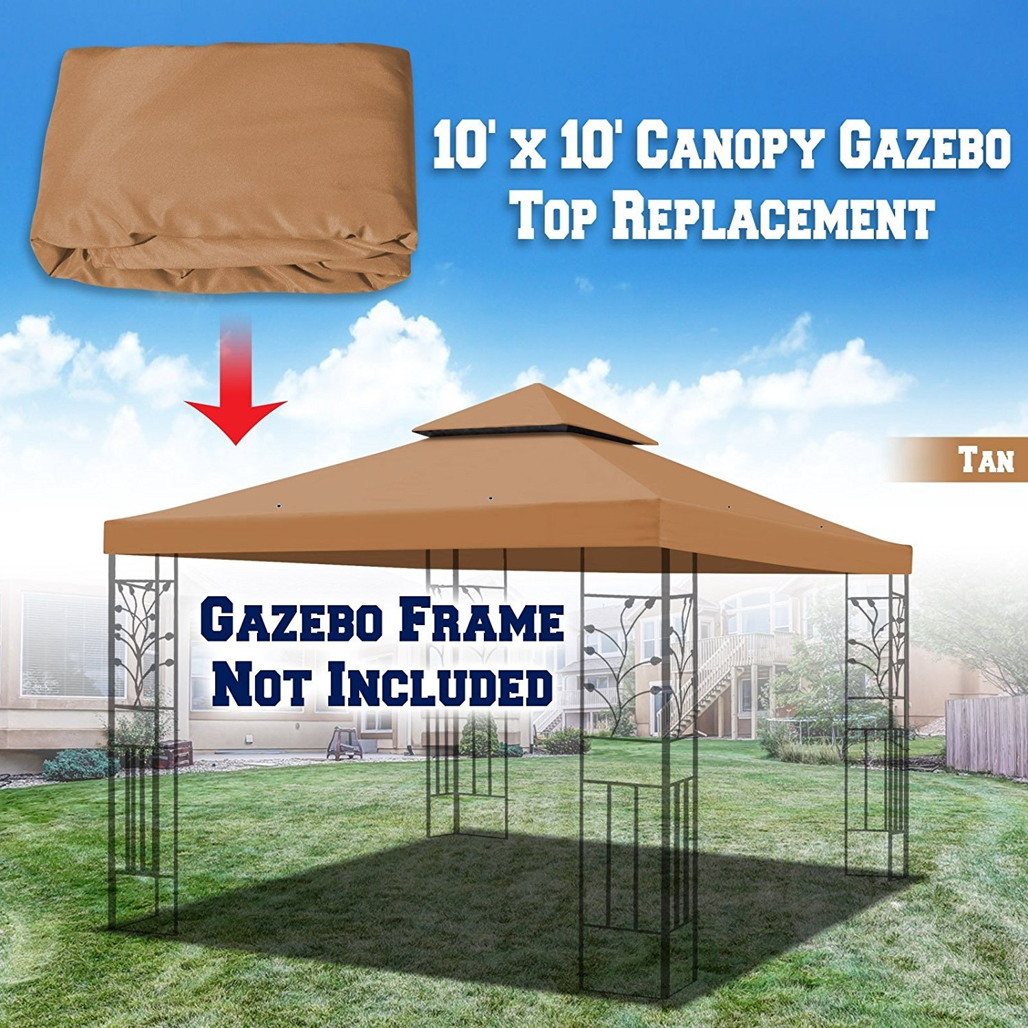 BenefitUSA Replacement 10'X10' Gazebo Canopy Top Cover Patio Pavilion Sunshade Double Tiers (Beige) vendorG246-BEG