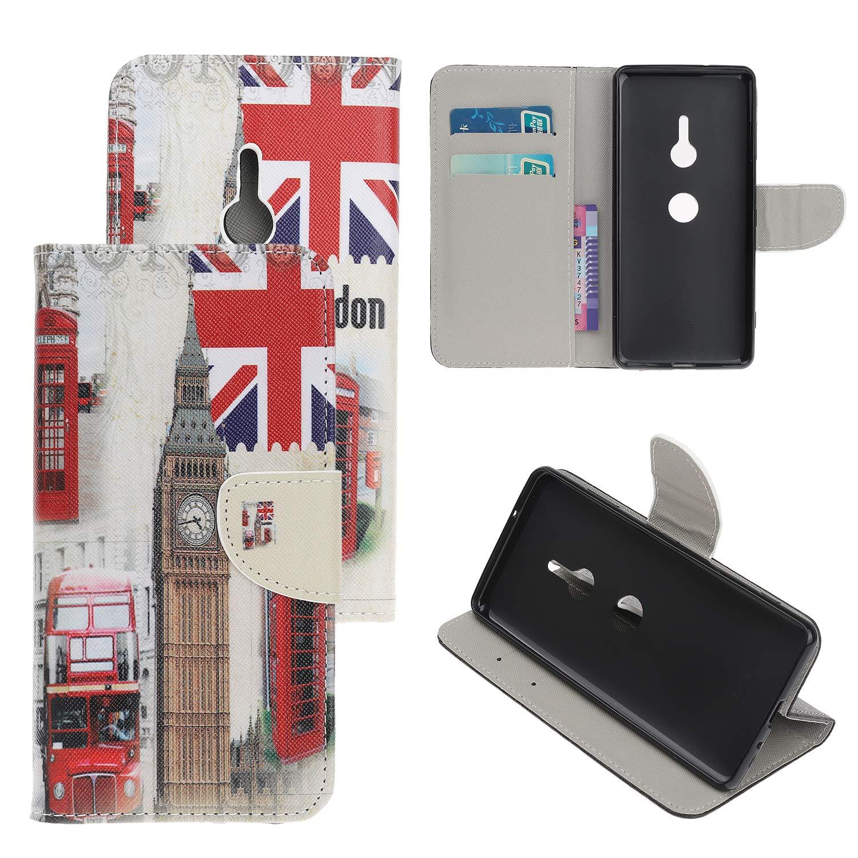 Sony Xperia XZ3 Flip Coque, Motif Peint Magnetic Clasp PU Cuir Flip Housse Étui Cover Case Protection Portefeuille Mince à Rabat Cover avec Porte-Carte Stand pour Sony Xperia XZ3 (Noir) leiai