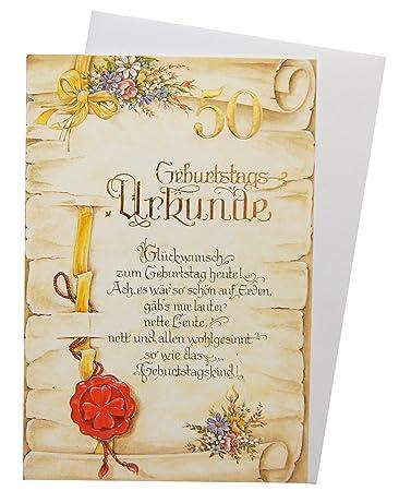 Gluckwunschkarte 50 Geburtstag Urkunde Amazon De Burobedarf