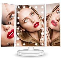 Miroir Maquillage LED Lumineux Grossissant 3X 2X 1X Pliable Rotation 180 Degrés pour Femme/ Maquilleur
