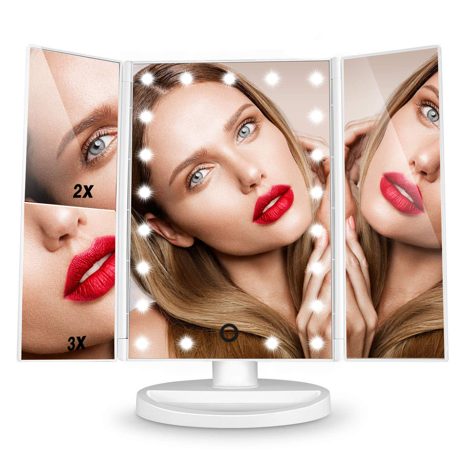 HAMSWAN Makeup Mirror, Magnification Vanity Make up Mirror 21 LED Lights Illuminated Tri-Fold 1x 2x 3x Mirrors, Touch-Screen Light, 180° Rotation, Travel Cosmetic Light Up Magnifying Mirror, White SM217-DL-CW-EU