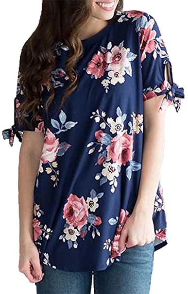812d4a5bcd61e Hibluco Women s Casual Tie Sleeve T-Shirt Floral Blouse Fashion Tops at  Amazon Women s Clothing store