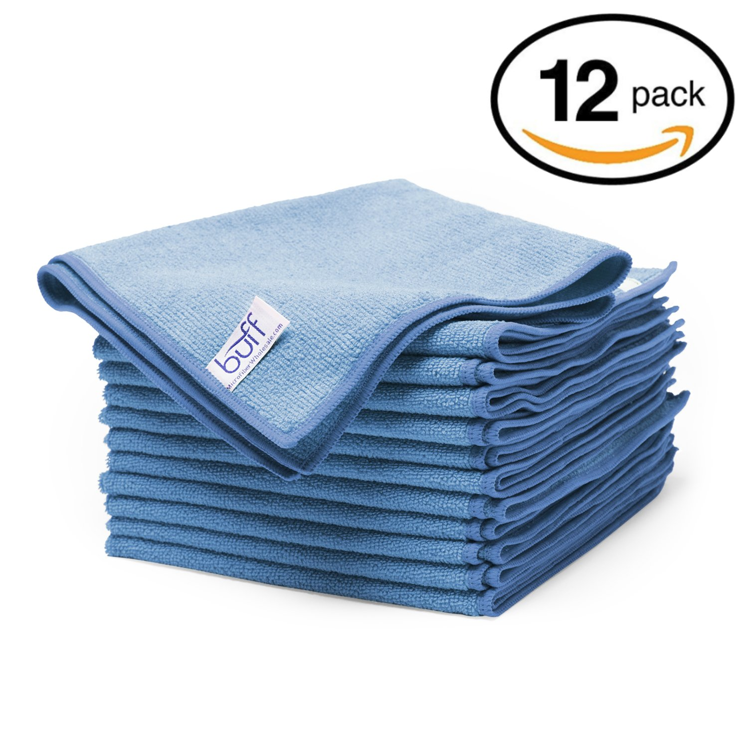 "Blue Microfiber Cleaning Cloths | Best Towels for Dusting, Scrubbing, Polishing, Absorbing | Large 16"" x 16"" Buff Pro Multi-Surface Microfiber Towel - 12 Pack"