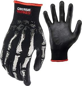 Grease Monkey Bone Series Foam Nitrile Mechanic Gloves with Grip