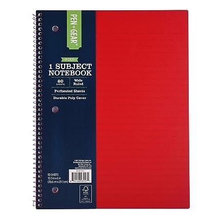 561e0060794d 1-Subject Spiral Notebook, 80 Sheets, 8