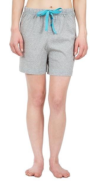 leisureland Knit pijamas de pijama Lounge pantalones cortos Boxer Gris de algodón de las mujeres -