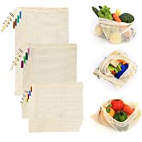 Foraineam 12 Pack 3 Sizes Reusable Produce Bags Cotton Bags with Drawstring - Machine Washable Natural Cotton Mesh Bags
