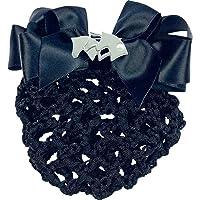 Equi Theme Haarnetz mit Schleife und Pferd, schwarz, 3 Pferdeköpfe