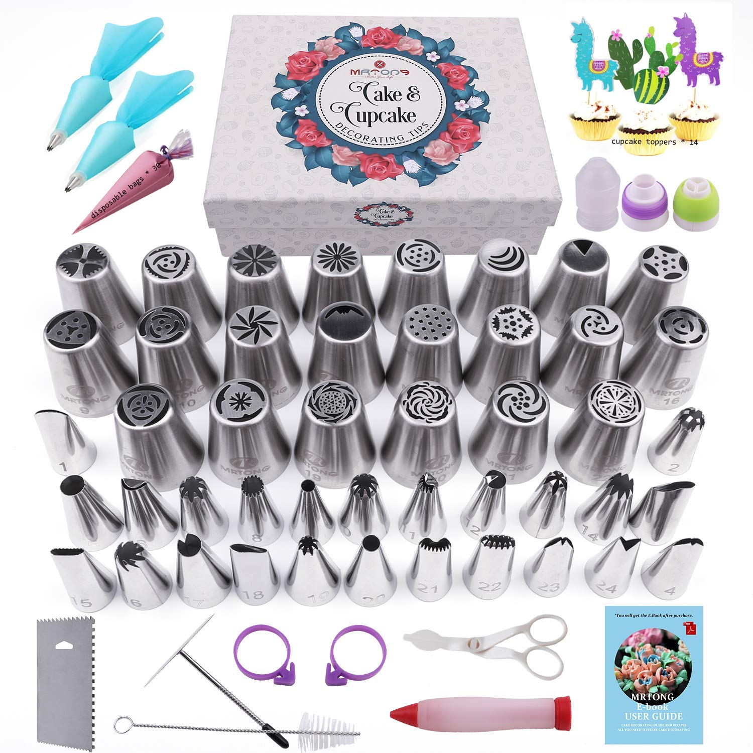 Russian Piping Tips Set -104pcs Cake Decorating Supplies - - 46 Icing Piping Tips (22 Russian+21 Icing+3 Leaf Tips), Cake & Cupcake Decorating Kit with Pattern Chart & Ebook User Guide by MRTONG