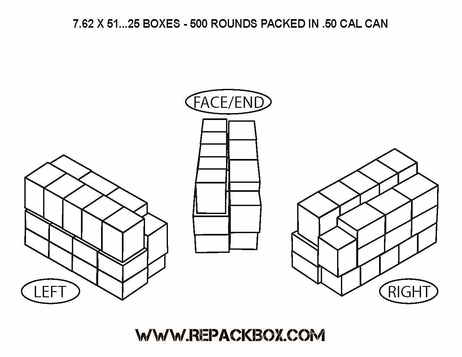 7.62 X 51 /& .308 Military Cardboard Ammo Box Holds 20 Rounds REPACKBOX 3 Sample Boxes