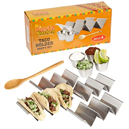 Taco Holder Stand - Set of 4 - Oven & Grill Safe Stainless Steel Taco Racks