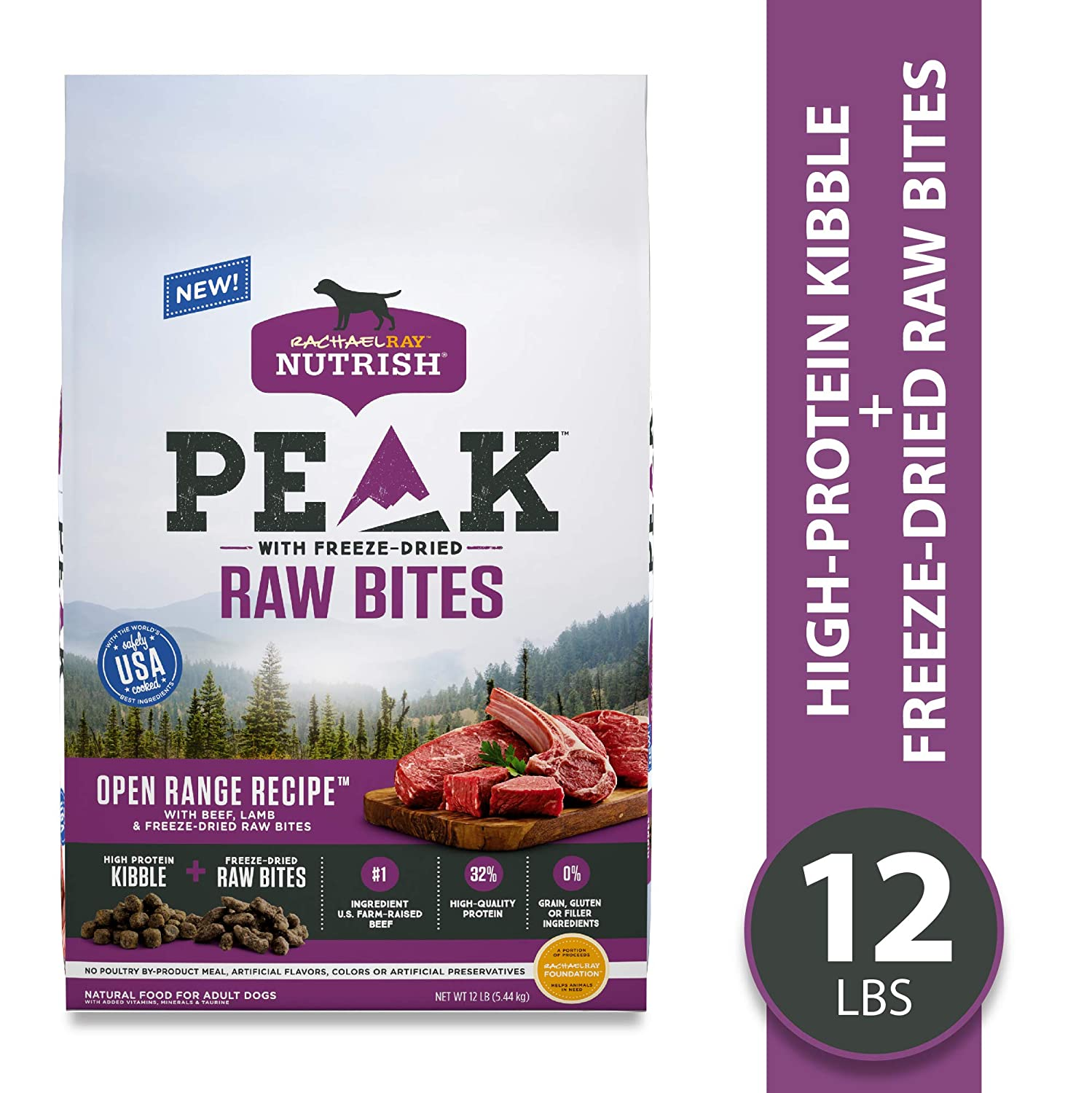 Rachael Ray Nutrish PEAK Natural Dry Dog Food with Freeze Dried Raw Bites, Grain Free Open Range Recipe with Beef Lamb, 12 lbs