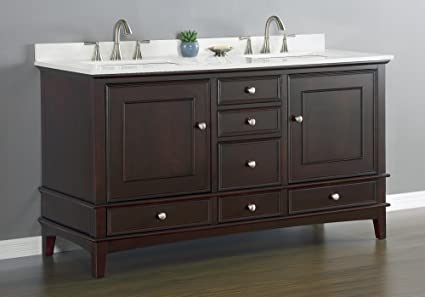 Cambridge Double Sink Vanity Set With Quartz Countertop  Espresso Finish 60 Inch Amazon Com