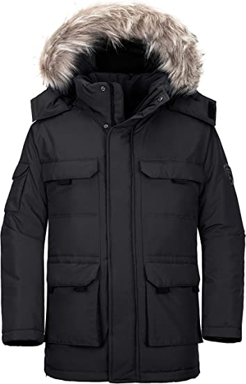 Wantdo Boys Padded Winter Coat Thicken Warm Puffer Jacket with Detachable Hood