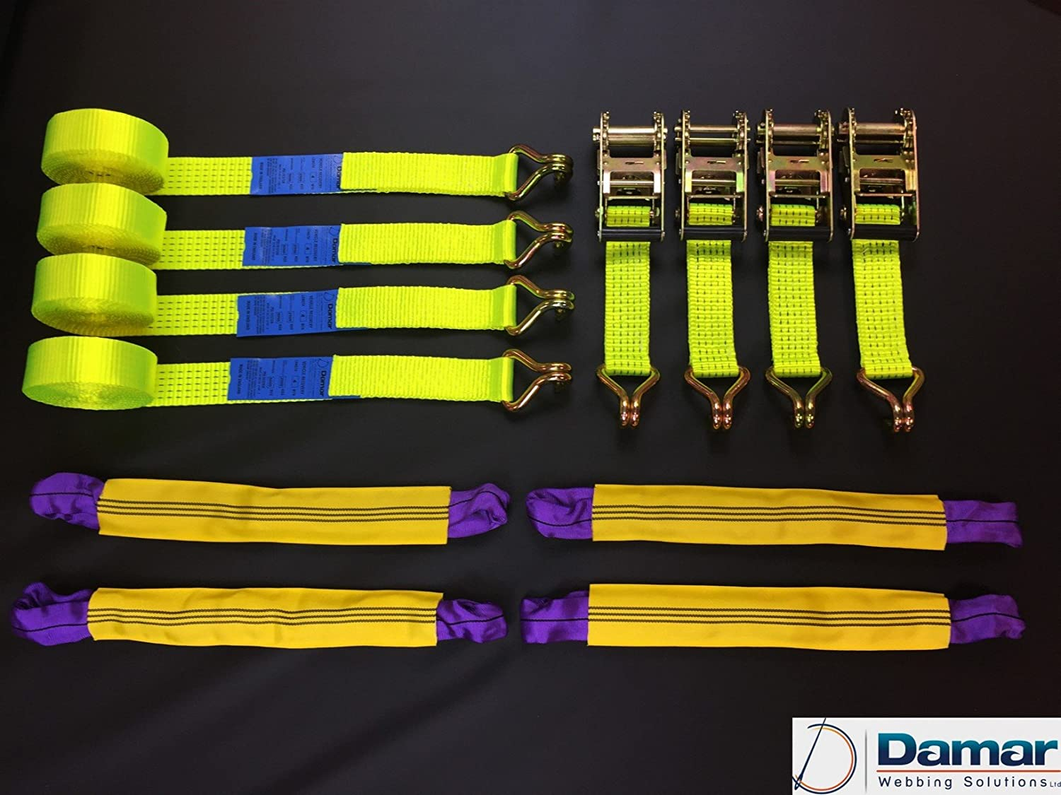 4 x 4mtr Car Transporter, Recovery ratchet Strap Set, Hi Vis Yellow Damar Webbing Solutions Ltd