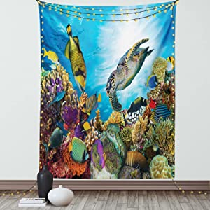 Ambesonne Ocean Tapestry, Colorful Fishes Hawksbill Floats Under Water Coral Reefs Aquatic Environment Theme, Wall Hanging for Bedroom Living Room Dorm Decor, 60